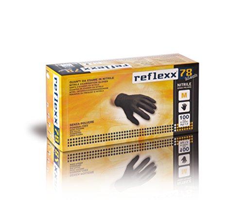 Reflexx R78, Guanti in Nitrile Neri senza Polvere Gr 4, 100 Pezzi, Nero