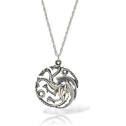 Juego de Tronos Targaryen collar con colgante de plata de dragón