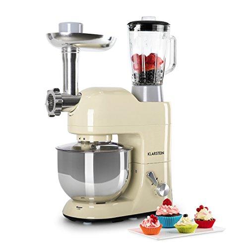 Klarstein Lucia Rossa - robot da cucina, mixer, impastatrice, 1200 W, 5 L, sistema planetario,...