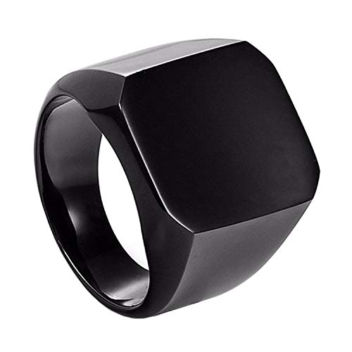 shopyonline Cool Casual Stainless Steel Ring for Men (Black)