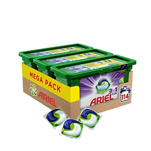 Ariel 3 en 1 PODS Color Detergente En Cápsulas Superconcentrado, Limpia y Mantiene El Brillo Del Color, 114 Lavados (3 x 38)