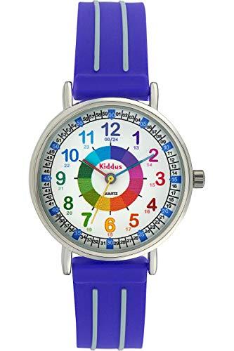 Orologi educativi KIDDUS per bambini, ragazze. Orologio da polso analogico con esercizi per imparare a leggere l'ora, movimento al quarzo giapponese, facilità di lettura dell'ora. KI10301 Azzurro