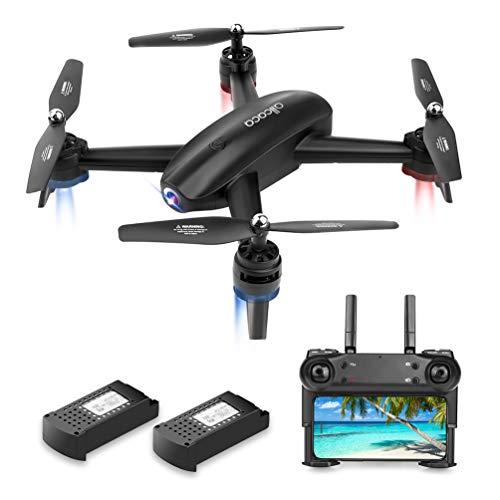 allcaca RC Quadcopter Drone con Telecamera GPS FPV Drone HD Camera 720P WiFi VR modalità Senza Testa, Flip 3D, 2 Batterie Incluse, Nero