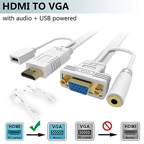 HDMI zu VGA Adapter mit Audio, FOINNEX Active HDMI zu VGA Adapter/Konverter Kabel mit Audio-Kordel für Anschluss PC, Laptop,Xbox 360 ONE, PS4/PS3, TV-Box zu TV, Monitor, Beamer, Stecker zu Buchse