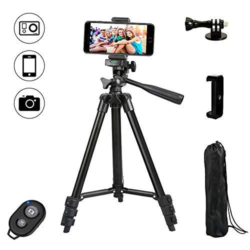 Dezuo 107cm Alluminio Treppiedi Cellulare Cavalletto per Telefono, iPhone, Fotocamera Reflex...