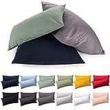 Blumtal 2er Set Kissenbezug 40 x 80 cm - 100% Baumwolle, Superweicher Premium Jersey Kopfkissenbezug, Kissenhülle, White