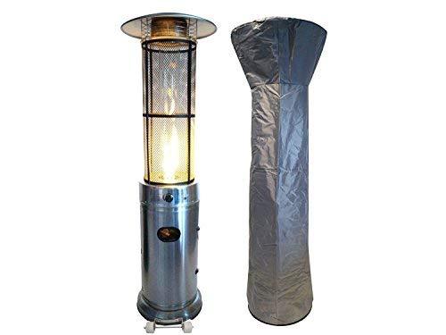 Traedgard® Gas Heizstrahler California Edelstahl | 180 cm | Heizpilz mit 9,5 kW | Stufenlose Regulierung | inkl. Schutzhülle Gasschlauch und Druckminderer