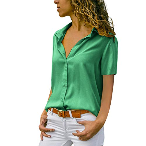Lazzboy Donna T-Shirt Top Plus Size Solid Short Casual Office Daily Plain Camicetta(42,Verde)
