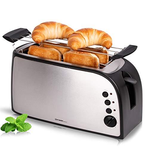 TZS First Austria - Toaster 4 Scheiben Langschlitz 1500W mit Krümelschublade | Brötchenaufsatz | wärmeisoliertes Gehäuse, Temperatureinstellung, Edelstahlgehäuse, Auftaufunktion, Brotzentrierung