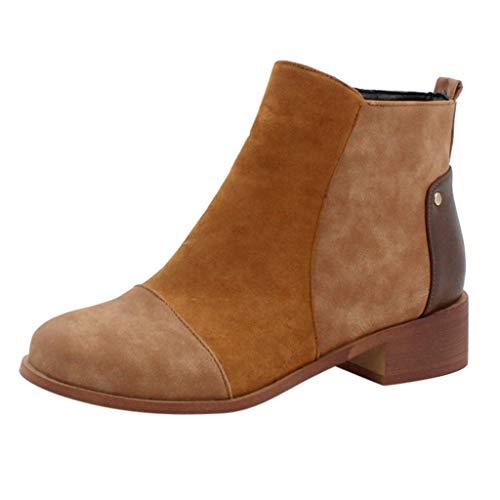 Pelle Stivali Caviglia per Donne Autunno Vintage con Lacci Donna Scarpe Comodo Tacco Piatto Stivali Cerniera Corto Stivale