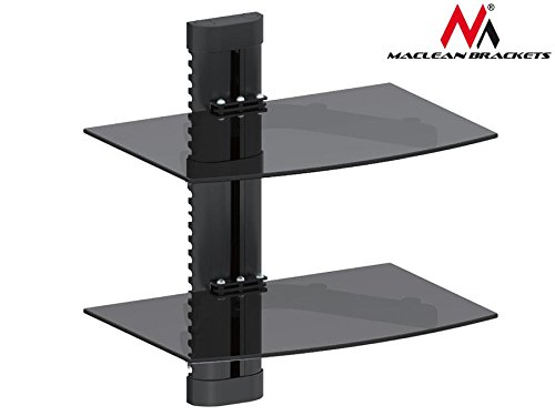 Maclean MC 662 mensola mensola di vetro 8 kg supporto da parete per DVD Player Mediaplayer Game...