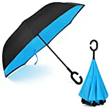 Virklyee Parapluie Inversé innovant, Parapluie Canne Double Couche Coupe-Vent, Mains Libres poignée en Forme C - Idéal pour Voiture et Voyage (Saphir)