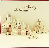 Tarjeta de Navidad hecha a mano de BC Worldwide Ltd, tarjeta de felicitación, tarjeta emergente 3D, tarjeta de origami, árbol de pino de conífera hombre de nieve de Navidad, casa de ladrillo, chimenea de casa de campo