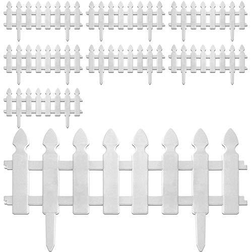 8 Stück Beeteinfassung, in 2 Farben verfügbar, Gartenzaun Lattenzaun Dekozaun Zierzaun Kunststoffzaun, Farbe:Weiß