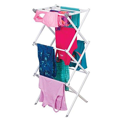 mDesign ausziehbarer Turmwäscheständer - Wäscheständer mit 3 Ebenen - platzsparender Standtrockner für Wäscheküche & Haushaltsraum - aus robustem Metall mit Kunststoffstangen