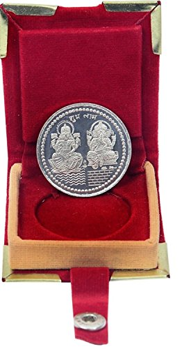 Chandrika Pearls Gems & Jewellers Dhanteras Diwali Silver Plated German Silver Coins laxmi Ganesh sikka with Box for Gift