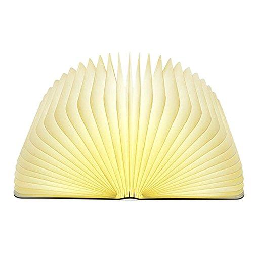 Lixada Libro Lampada Luce LED di legno Pieghevole Luci Booklight Decorative Lampada da Tavolo,Big...