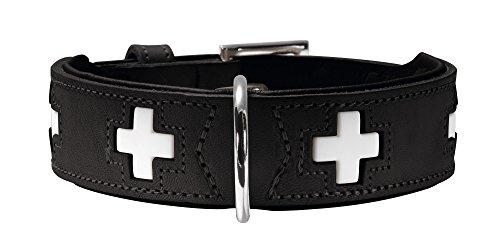 HUNTER Hundehalsband Swiss, Leder, 60, schwarz