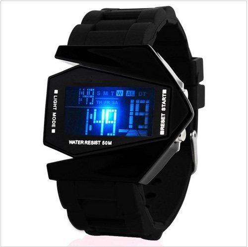 SHVAS Digital Black Dial Men's LED Watch - AEROBLACK