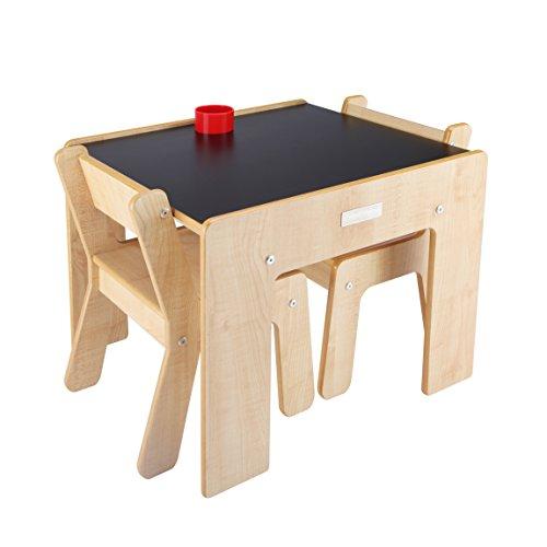 Little Helper FSD02-5 Tavolino con Portamatite e 2 Sedie per Bambini, Legno Naturale/Lavagna