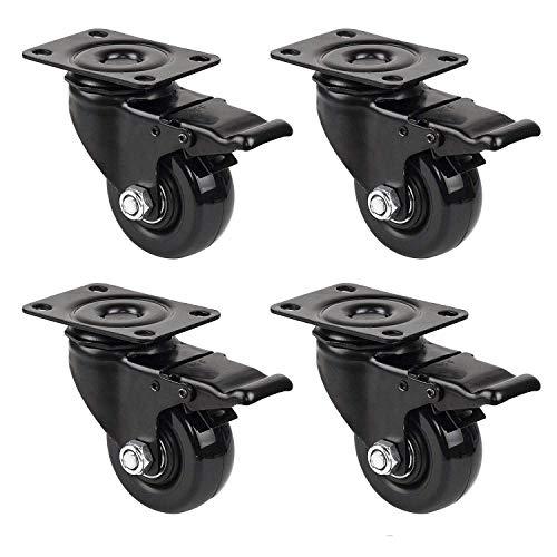 GBL - Set di 4 Nero 4 Ruote Per Carrello 50mm 200KG Rotelle per Mobili, Ruote Girevoli Gomma (4...