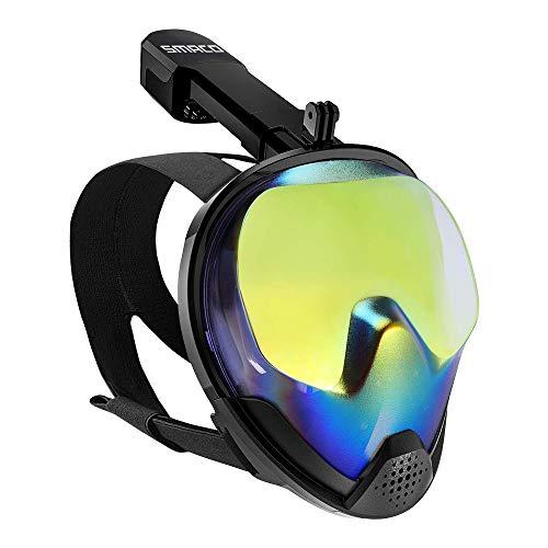 Maschera Snorkel Full Face 180 ° Vista panoramica sull'oceano Protezione UV Nebbia Maschera Snorkel anti-perdite con supporto