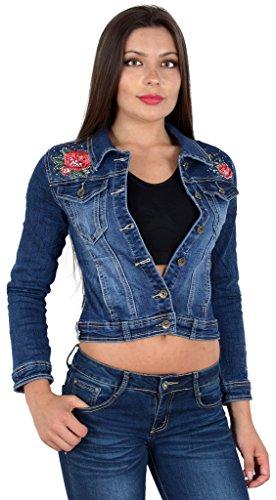 ESRA Damen Jeansjacke Damen Jeans Jacke mit Blumen Stickerei Lang...