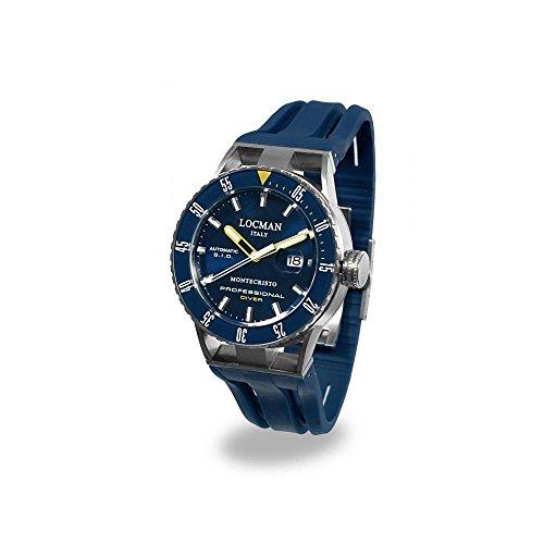 Orologio Locman Montecristo 051300BYBLNKSIB Automatico Acciaio Quandrante Blu Cinturino Silicone