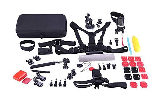 rK Kit de Accesorios 53 en 1 para cámaras deportivas Sjcam SJ8, series 7 6 5 4, Gopro Hero Session 6 5 4 3, cámaras Apeman, Cámaras YI. Accesorios estándar para las cámaras actuales. Incluye maleta de transporte.