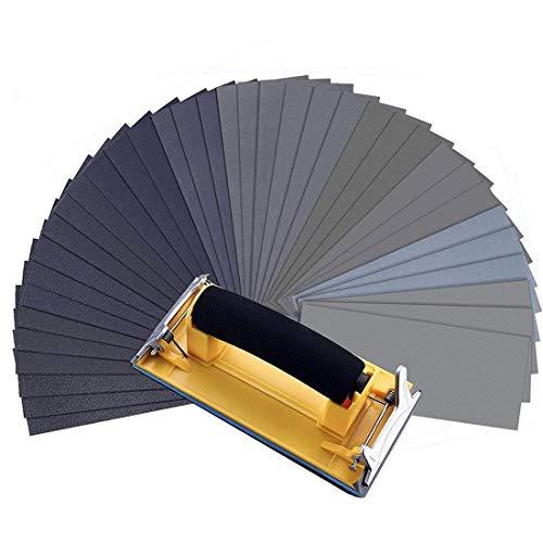 MOHOO Schleifpapier mit Handschleifmaschine, 120 bis 3000 Verschiedene Nass- und Trocken-Sandpapier mit Schleifpapier set für die Holzmöbel Metallschleifen 36 Blatt nassschleifpapier