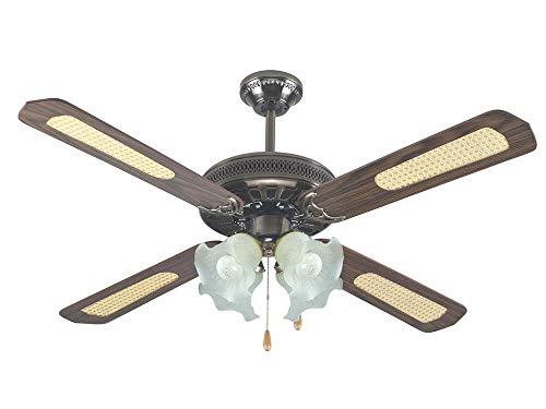 Effe Ventilatore da soffitto 4 Pale, Diametro 130cm, 4 portalampade, 3 velocità