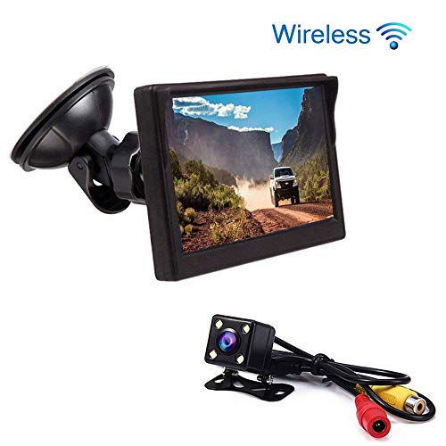 BEST4U Telecamera Retromarcia per Auto, Video Surveillance Kit Wireless Vision Angle 170 ° ad alta definizione 4.3 pollici TFT Screen