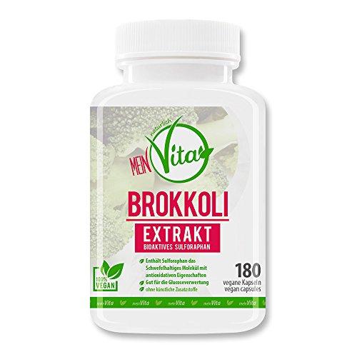 MeinVita Brokkoli Extrakt - 180 hochdosiert- 100% VEGAN Kapseln - Sulforaphan, - Bioaktiv - 1000 mg...