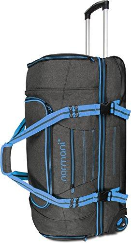 normani Reisetasche Reisetrolley mit Rollen 90 oder 120 Liter Volumen mit Verschiedenen Fächern Farbe Z Blue Größe 90 Liter