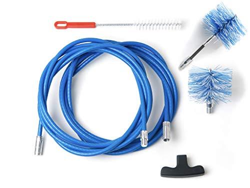 BARETTO - Kit 6 Mètres de Ramonage - 2 Brosses 80mm (Pellet et FLEX) - Kit Nettoyage de Poêle à Pellets / Granulés