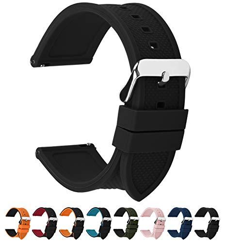 Fullmosa 10 Colori per Cinturino 18mm 20mm 22mm 24mm in Silicone a sgancio rapido, Cinturino in caucciù con Fibbia in Acciaio Inossidabile,per Uomo e Donna,24mm Nero