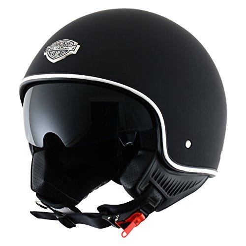 Cascos de moto baratos Astone Helmets MINI66-MBKL Jet, Color Negro Mate