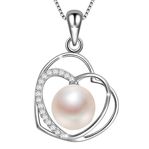a4fba02158bf9 Dawanza-Cadeau Fête des Mères-Collier Femme en Argent 925 et Perle d ...