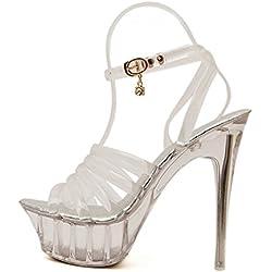 Talons Hauts Plate-forme Extrême Sexy Transparent Talon Stiletto Sandales Pour Les Femmes Chaussures De Bal Soirée Dames Élégantes Peep Toe Pompes,Silver-EU35=225