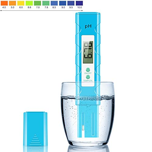 PH Messgerät (ATC) Wasserqualität Tester/Digitales pH Messgerät mit LCD Display ± 0.01pH Hohe Genauigkeit, 0.00-14.00 Messbereich PH-Meter für Haushalt Trinkwasser Hydroponic Aquarium Spa Pool(Blau)