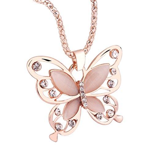 Tinksky Collar largo de las mujeres de oro rosa ópalo mariposa colgante suéter collar de la mariposa de la cadena de ropa larga joyería regalo de cumpleaños de navidad para las mujeres
