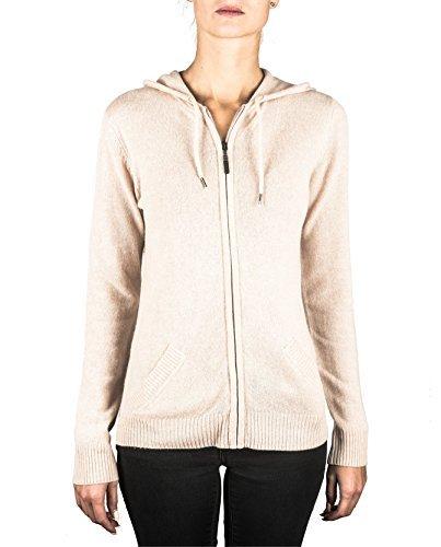 100% Kaschmir Damen Kapuzenpullover | Hoodie mit Reißverschluss (Beige / Washed Ecru, XL)