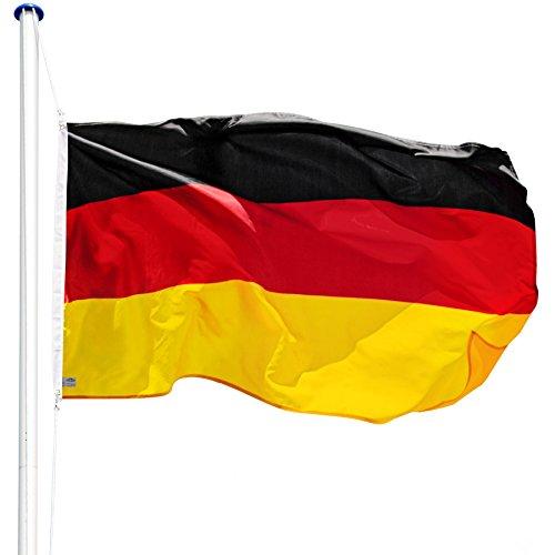 TecTake Aluminium Fahnenmast 6,25 m mit Fahne + Bodenhülse + Seilzug (Deutschland | Nr. 402125)