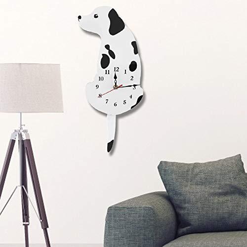 WYANG 1Pc Cartoon Dog Acrilico Orologio da Parete Orologi Decorativi per la casa Soggiorno Camera da Letto Nero Bianco (01)