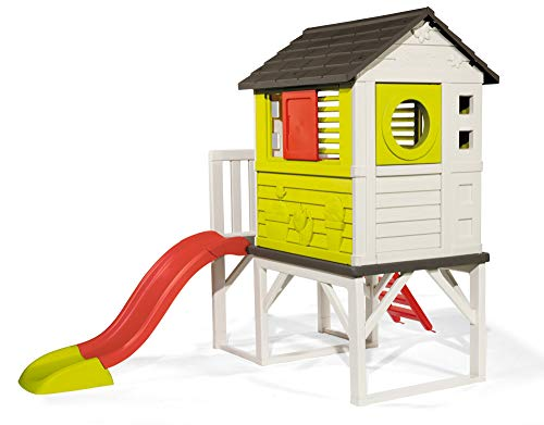 This playhouse is made from plastic and, for information, it's imported from France. It is waterproof and UV-anti treated to guarantee maximum resistance against elements and increase durability.