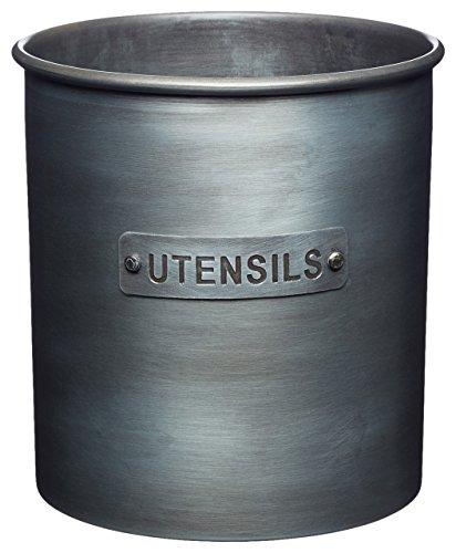 Kitchencraft Industrial - Recipiente metálico para Utensilios de Cocina, Estilo Vintage, 13,5 x 14,5 cm, Color Gris