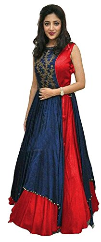 Dresses (Ladies4Zone Women's Tapeta Silk Semi - Stitched floor length Free Size Gown)