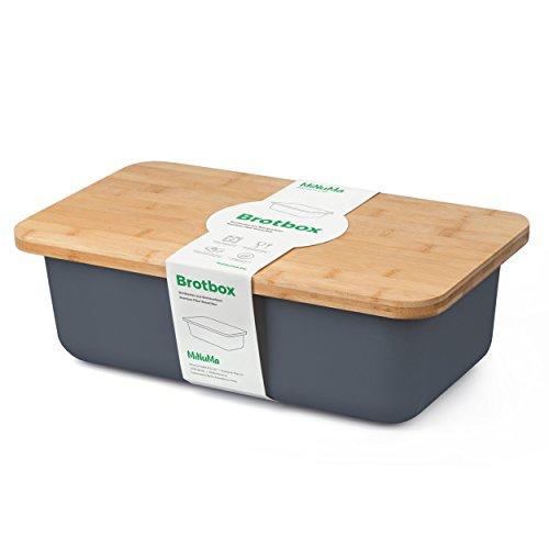 Minuma® Brotkasten Brotbox aus Bambusfaser mit integriertem Bambusschneidebrett als Deckel (lebensmittelecht) | dunkelgrau