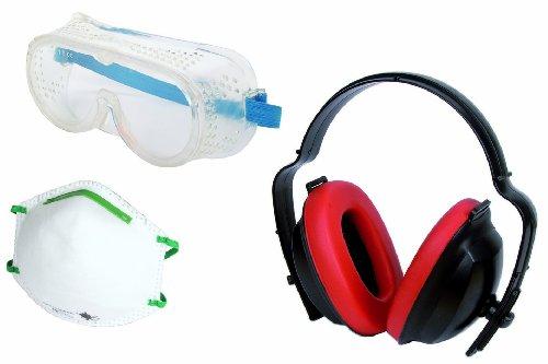 Wolfcraft 4871000 4871000-1 Juego de protección en el Trabajo de 3 Piezas (CE) Contenido: 1 Gafas de visión Total 166 máscara Antipolvo FFP1 149:2001+A1:2009, 1 Cascos Anti-Ruido (DIN EN 352-1:2002)
