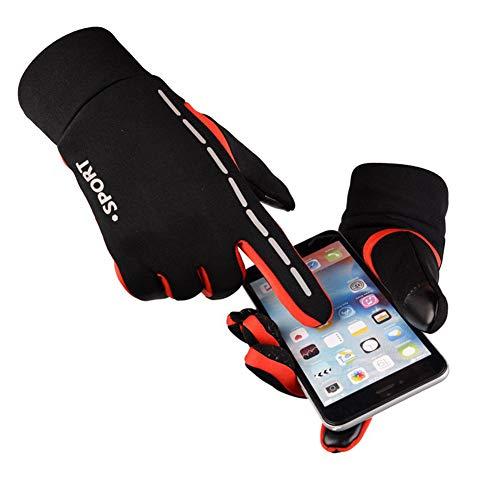 Leoie Unisex Luminous Outdoor Cycling Gloves Warm Velvet Touch Screen Waterproof Windproof Gloves Red M